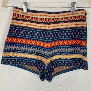 Lucca Couture Striped Mini Short Soft Knit Small